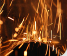 Sparks comming from an angle grinder
